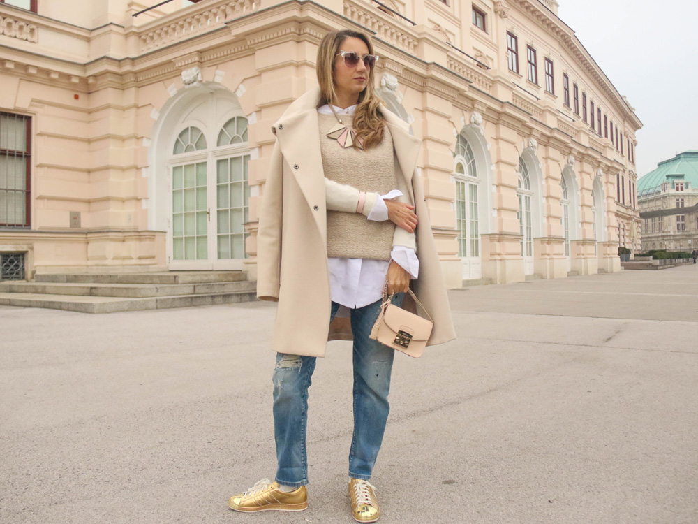 colourclub-denim-outfit-fendi-sunglasses-furla-bag-white-coat-adidas-superstars-sneakers-zara-knitwear