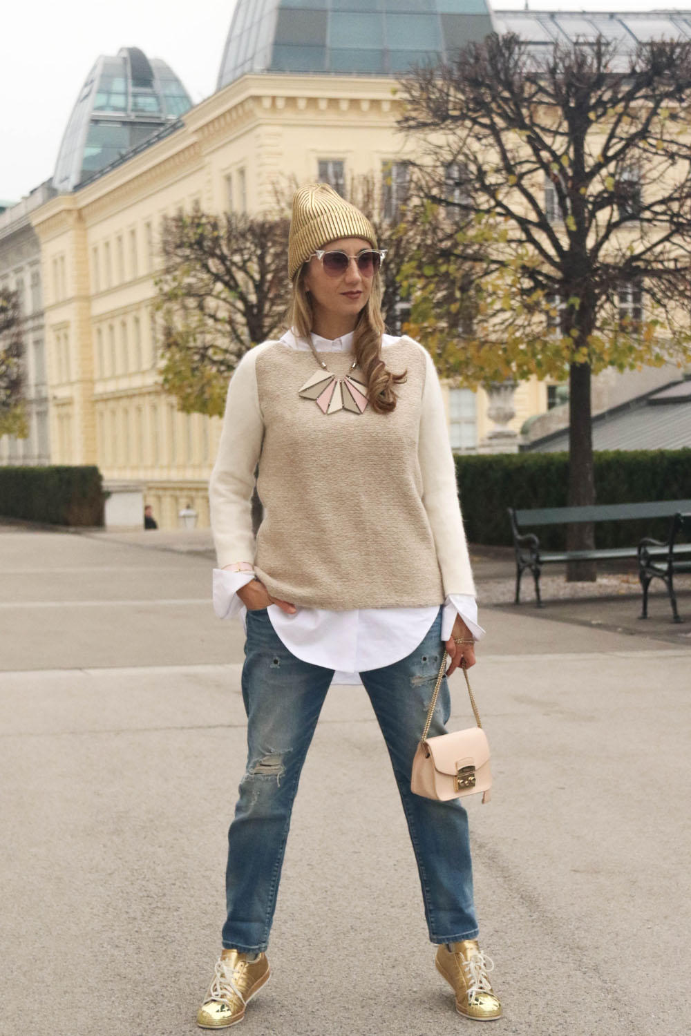 colourclub-outfit-adidas-superstars-sneakers-furla-bag-gold-beanie-vienna-jeans-fendi-sunglasses-albertina-vienna-armani-necklace-zara-knitwear
