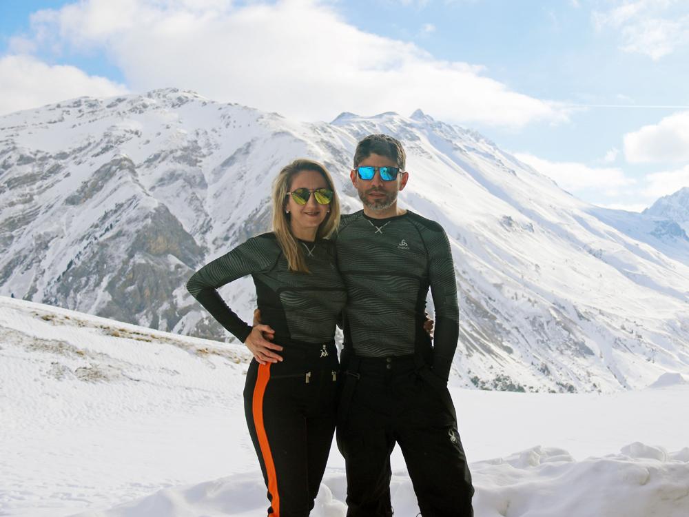 Familienfoto beim Skifahren, Odlo Funktionsunterwäsche